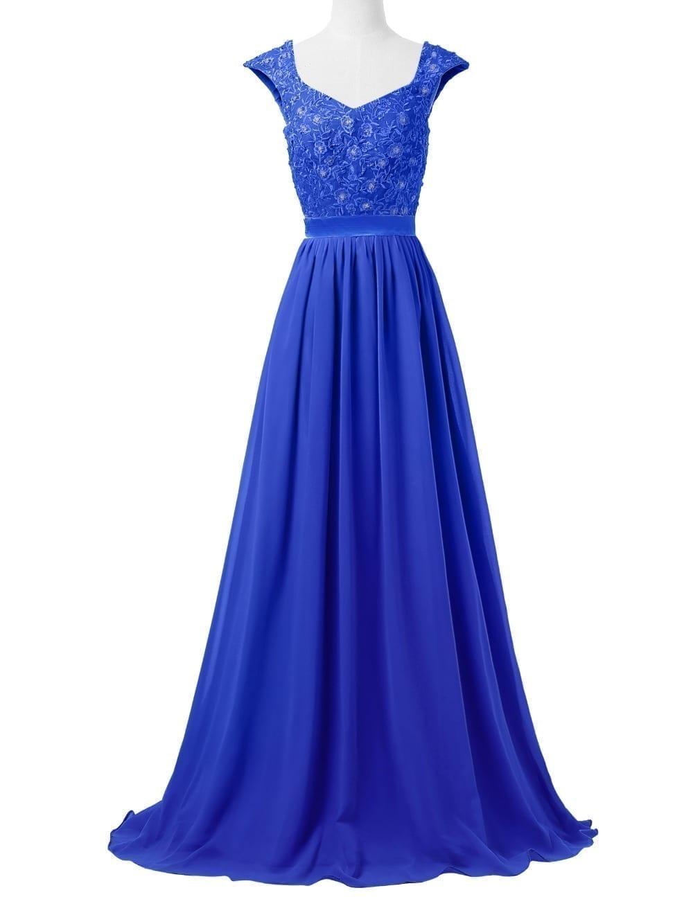 Sleeveless Lace Chiffon Long Formal Bridesmaid Dress
