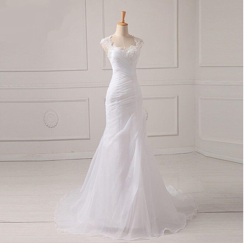 Appliques Beading Bodice Organza Wedding Dress