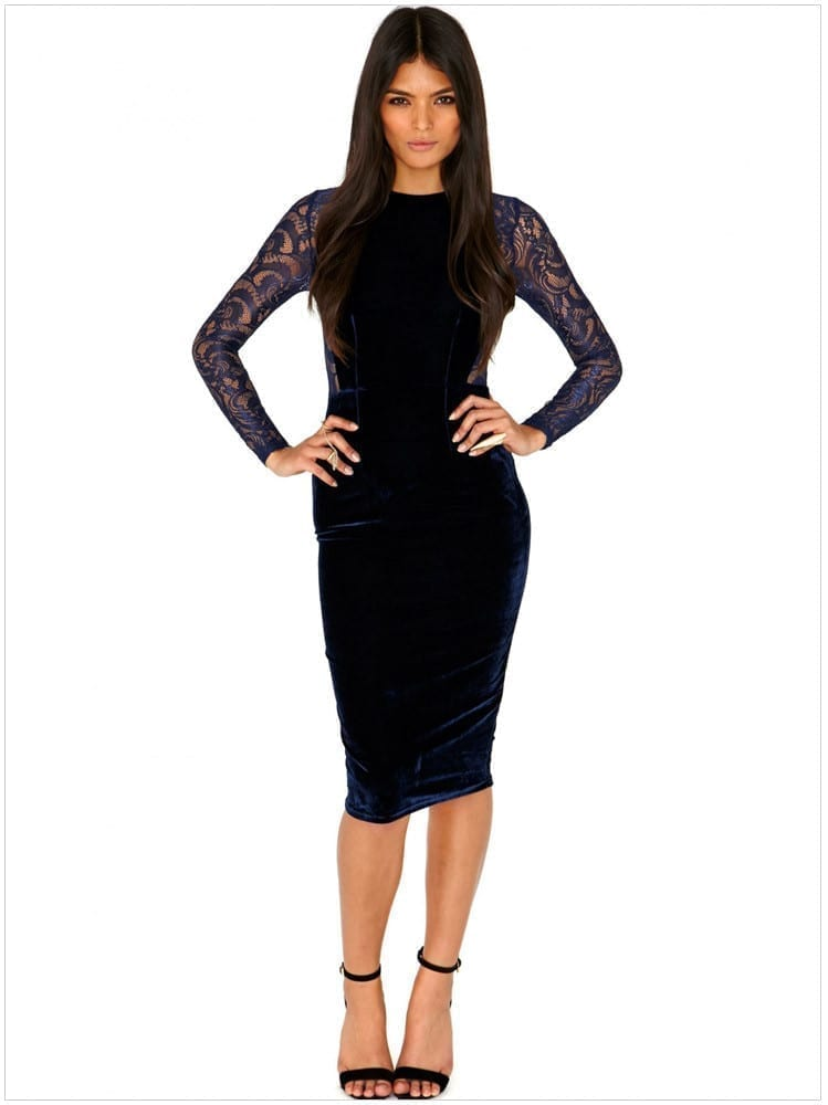 Lace Velvet Midi Bodycon Pencil Dress
