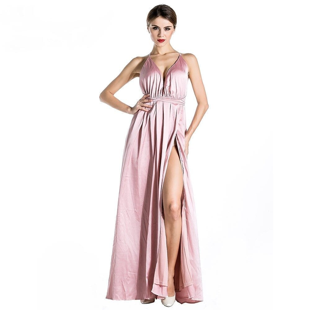 V-neck Deep V Halter Sleeveless Split Dress