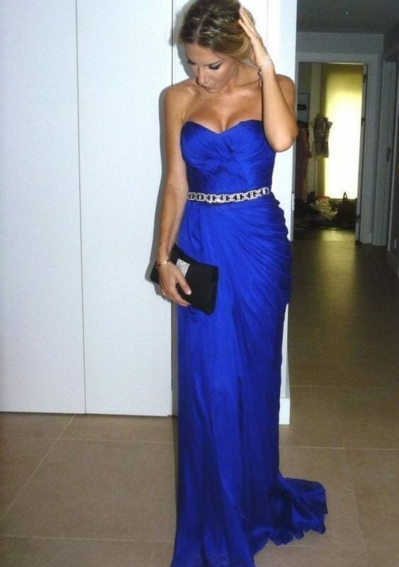 Amazing Royal Blue Ruched Sweetheart Stunning Crystals Belt Mermaid Long Gown