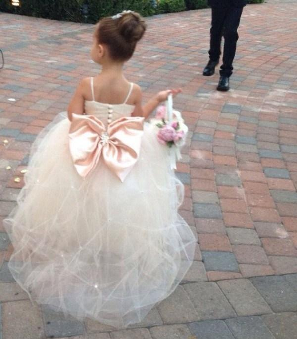 Spaghetti Straps Crystals Beads Pleats Puffy Tulle Skirt Flower Girls Dress back