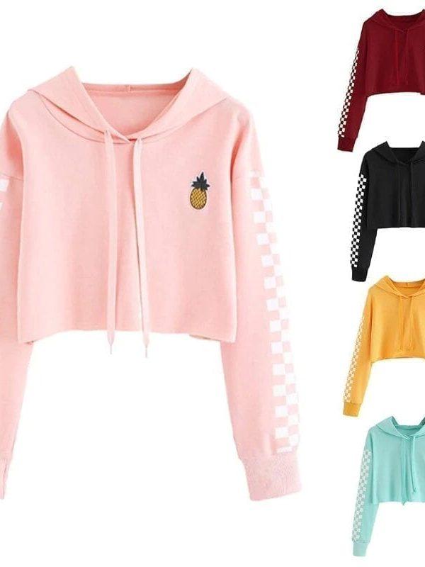 Pineapple embroidery gingham plaid hoodies pullover sweatshirt top