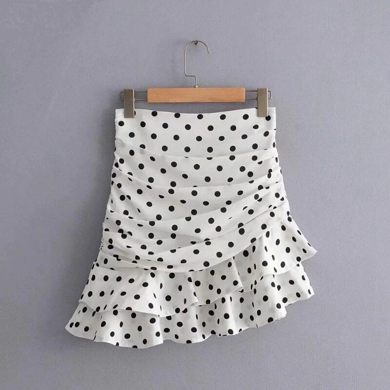 Polka Dot Print Pleated Asymmetrical Skirt 4