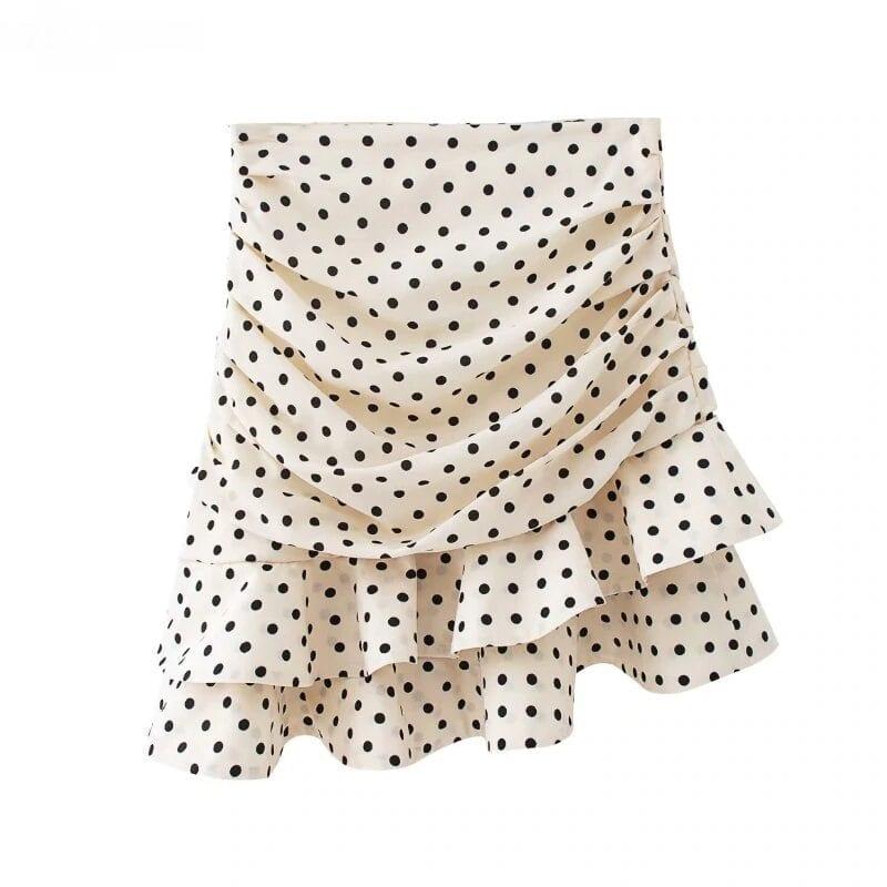 Polka Dot Print Pleated Asymmetrical Skirt 6