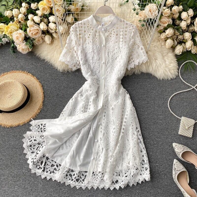Elegant hollow out balck red white short sleeve beach dress