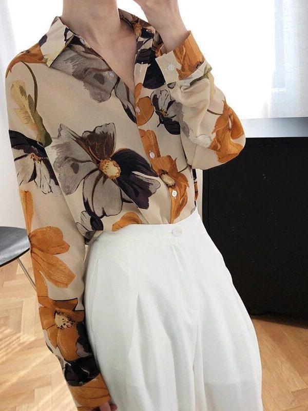 Oil painting printed light sunscreen chiffon shirt