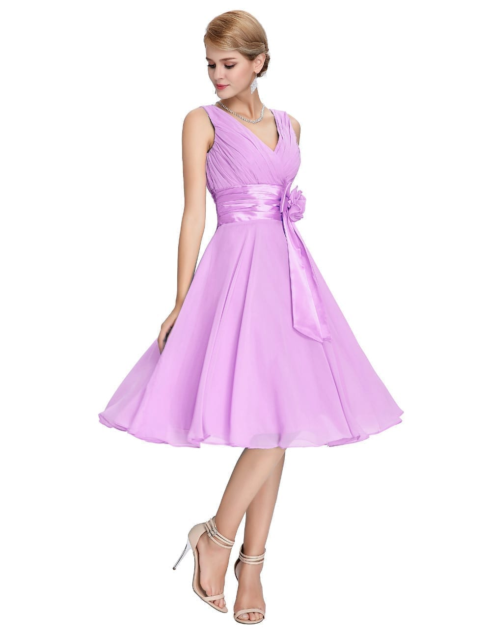 knee length short chiffon bridesmaid dress uniqisticcom