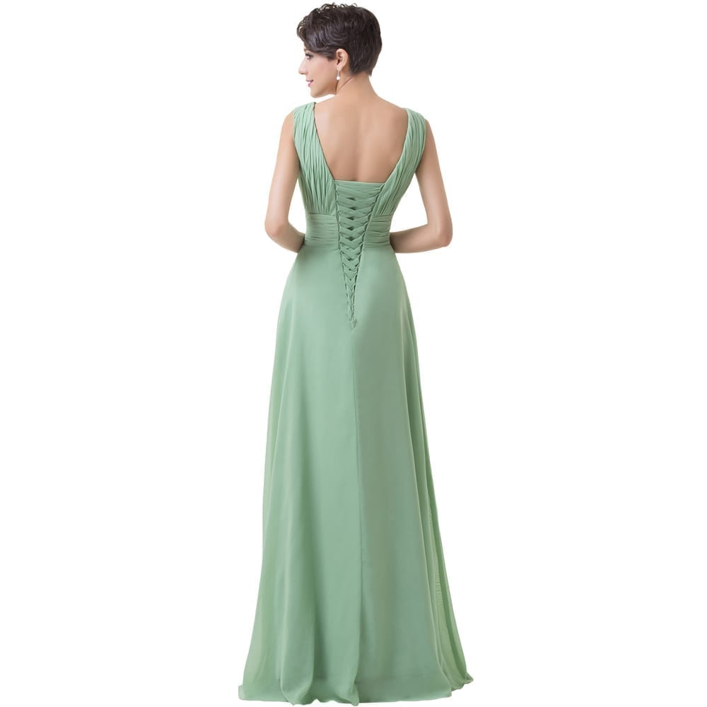 Green Backless Chiffon Floor Length Long Bridesmaid Dress