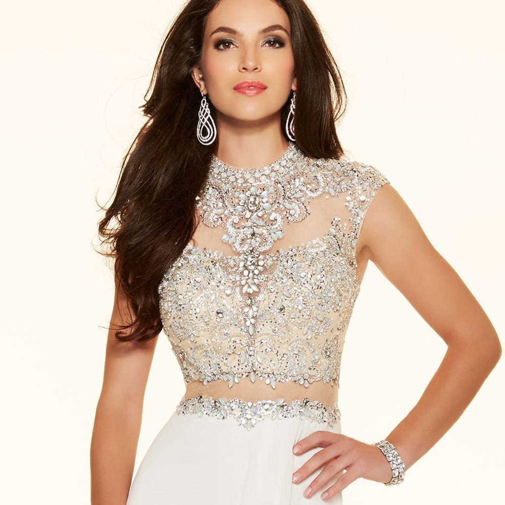 Sparkly Crystal Crop Top Flowing Split A-Line One Piece Evening ...