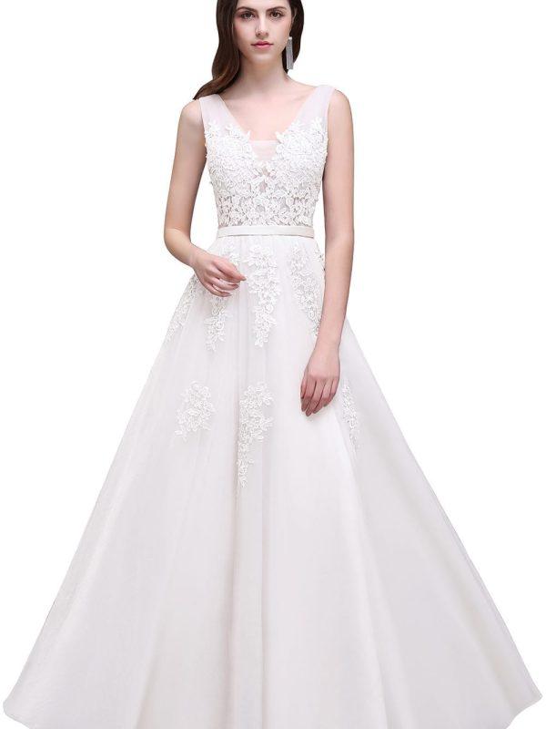 V-neck Open Back Lace Beach Bohemian Wedding Dress