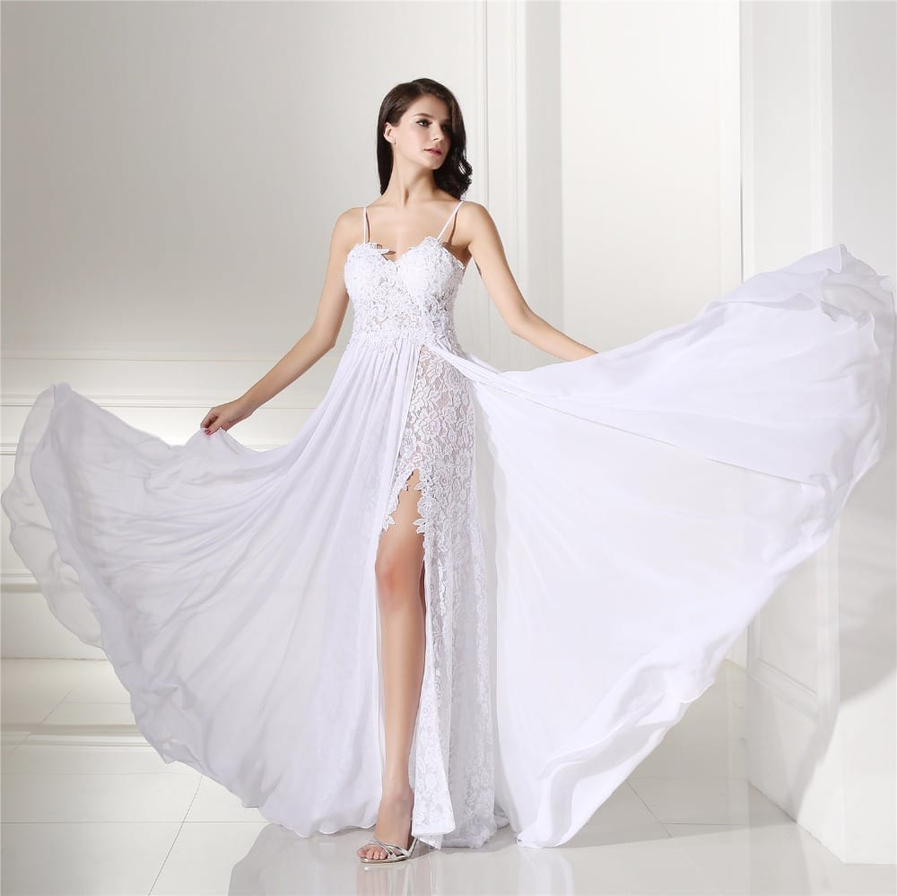Backles Lace Split Chiffon Beach Wedding Dress Uniqistic Com