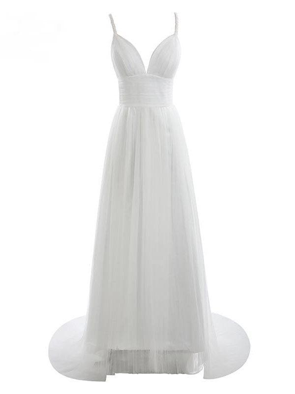 Spaghetti Straps Ruched Tulle Beach Wedding Dress
