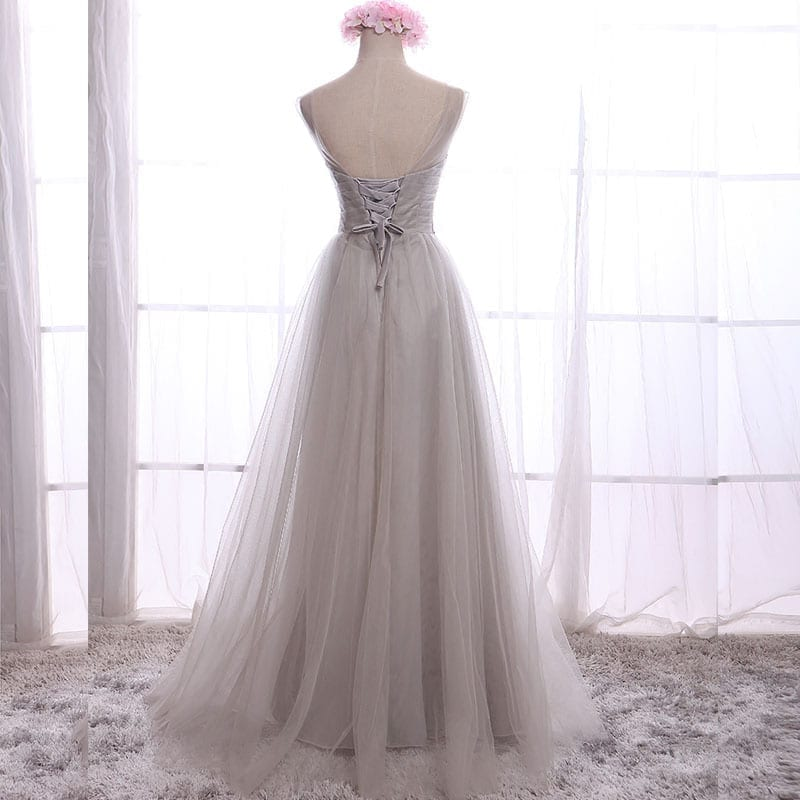 A-line Chiffon With Crystal Long Bridesmaid Dress