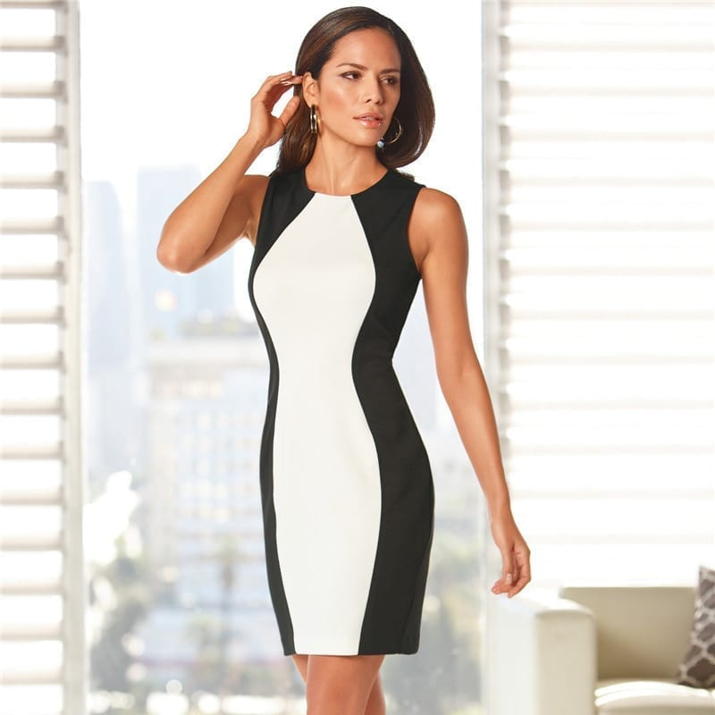 Black White Splice Sleeveles Vintage Office Bodycon Dress