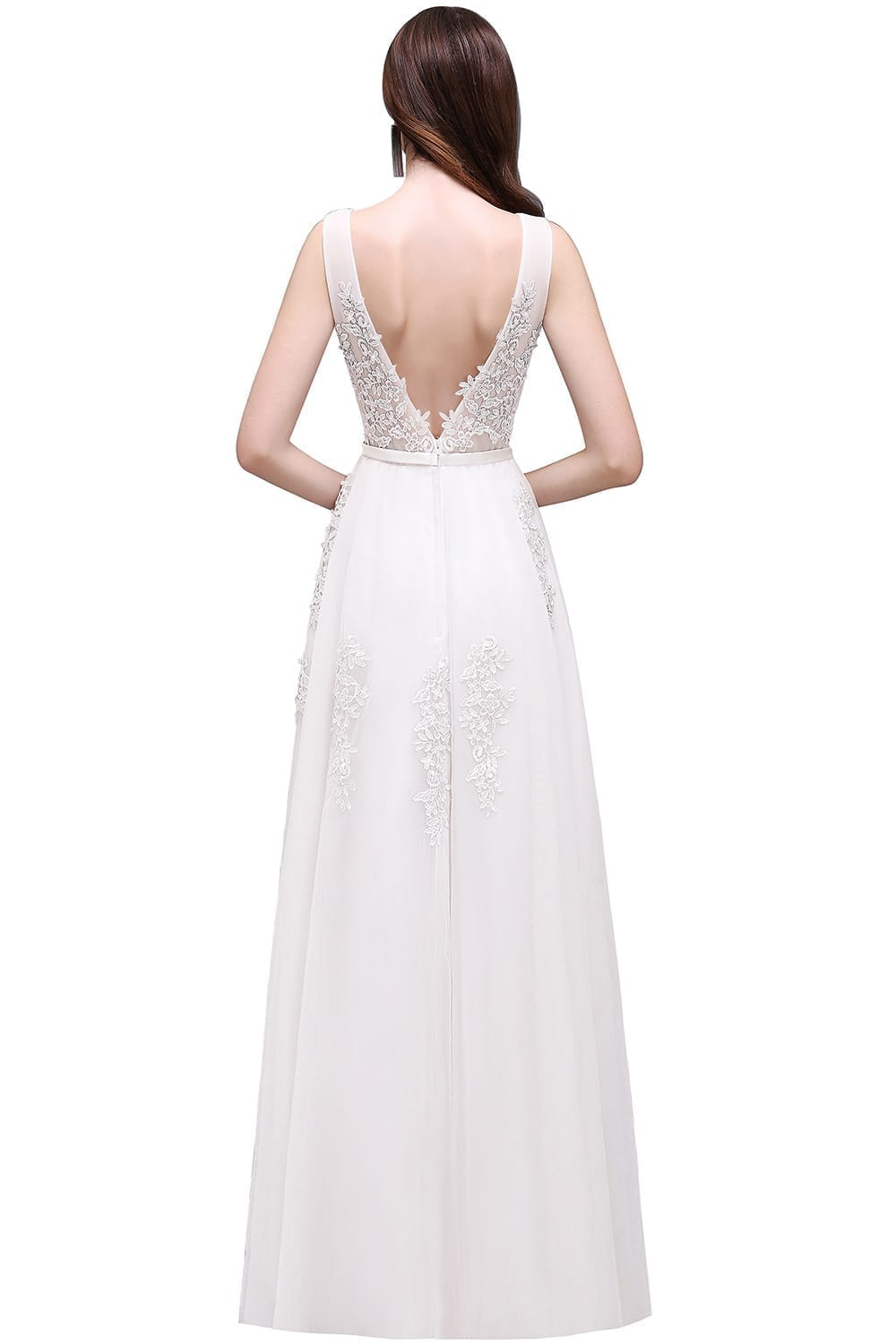 V-neck Open Back Lace Beach Bohemian Wedding Dress