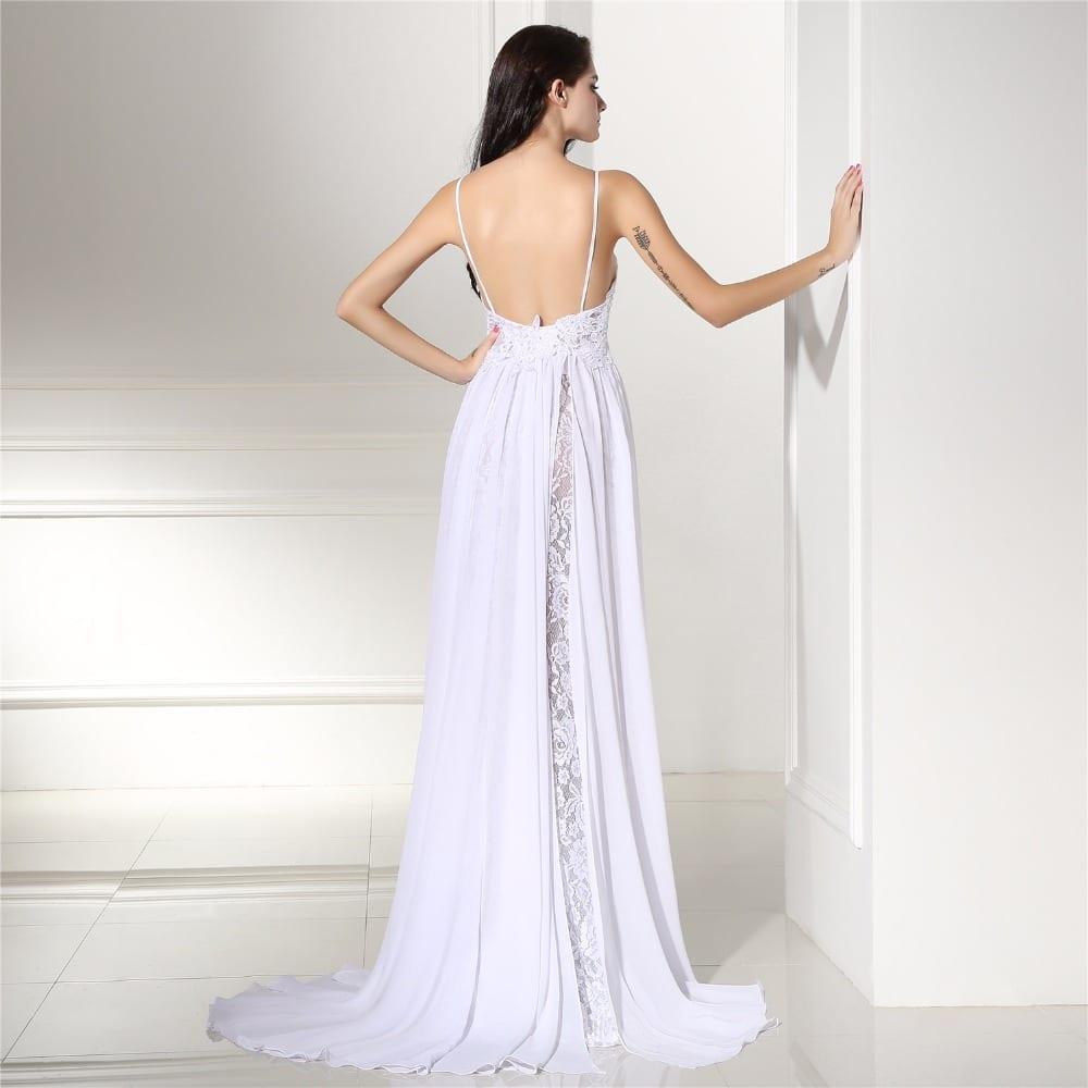 Backles Lace Split Chiffon Beach Wedding Dress