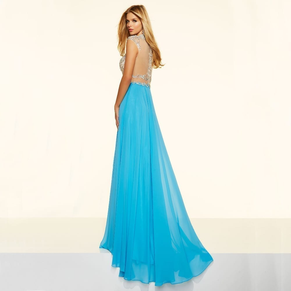 Sparkly Crystal Crop Top Flowing Split A-line One Piece Evening Dress