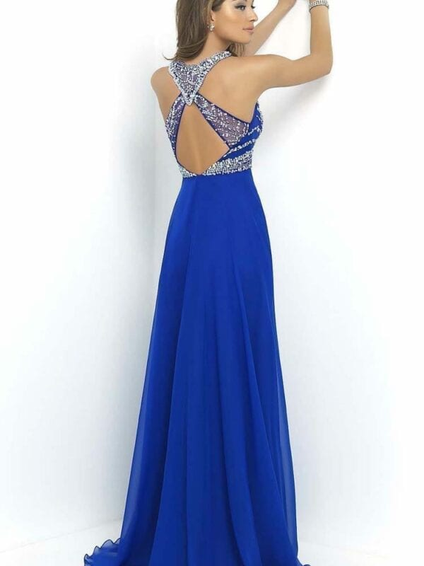 Royal Blue O-neck A-line Open Back Chiffon Beaded Evening Prom Dress