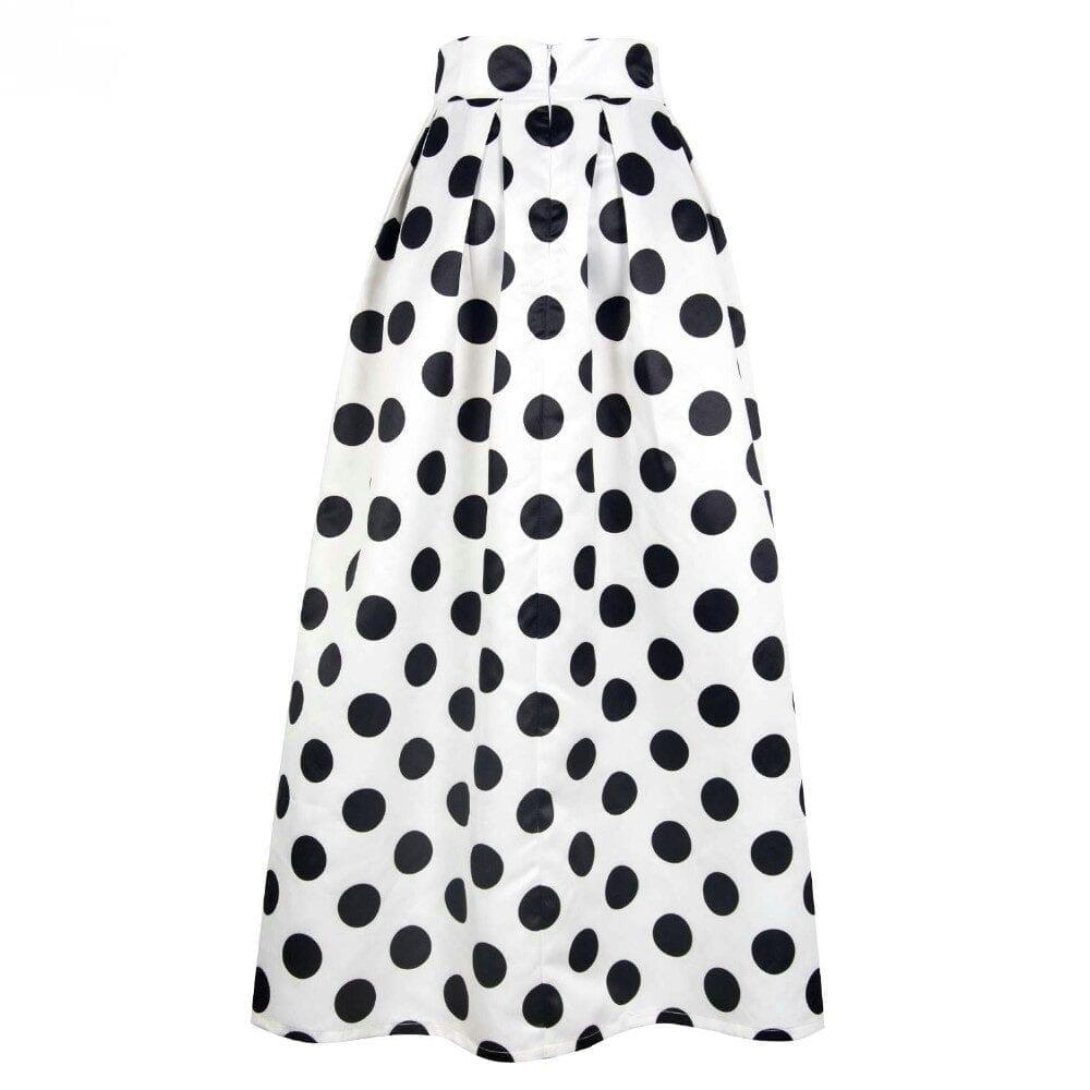 High Waist Polka Dots Print Pleated Maxi Skirt