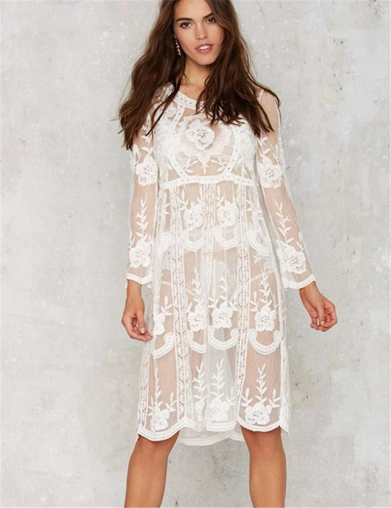 white lace long sleeve knee length loose beach dress. Black Bedroom Furniture Sets. Home Design Ideas