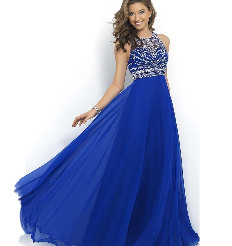 Royal Blue O-neck A-line Open Back Chiffon Beaded Evening Prom Dress