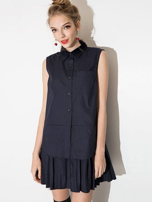 Layered Pleated Spliced Shirts Dress