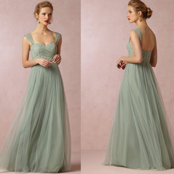Green Lace Tulle Floor Length Bridesmaid Dress