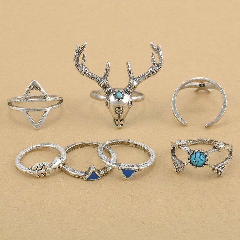 7pcs/set Boho Vintage Anti Silver Rings