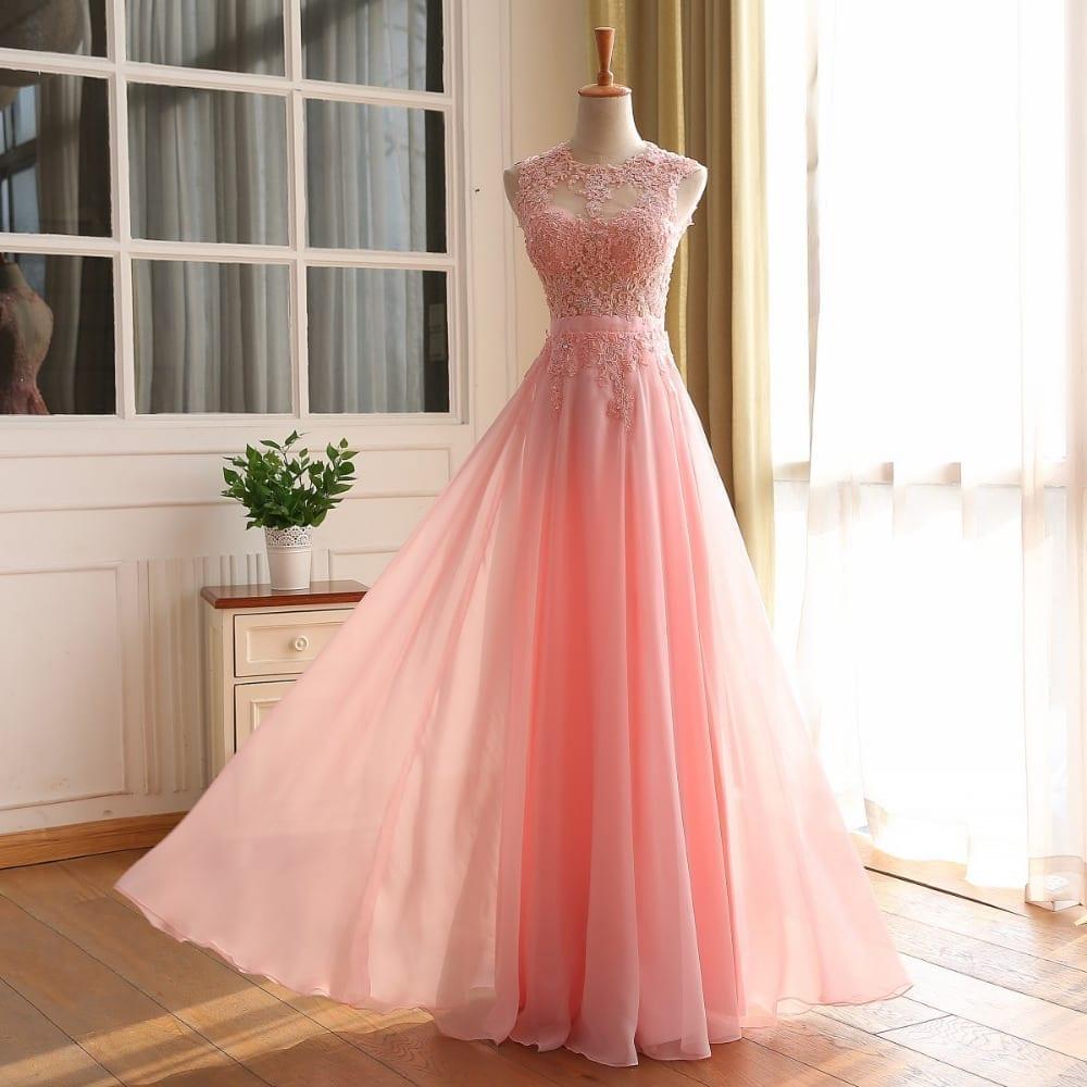 Pink Elegant A-Line Long Open Back Vintage Evening Dress - Uniqistic.com
