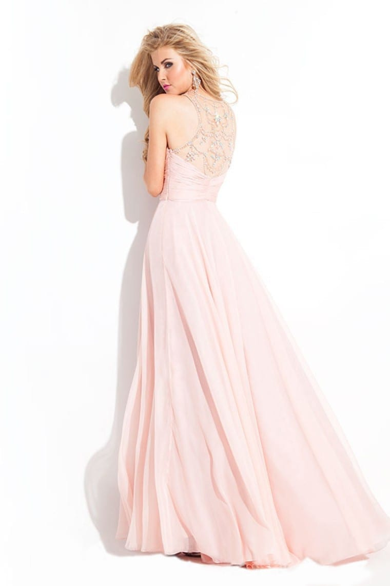 Halter Floor Length Beading Long Evening Dress