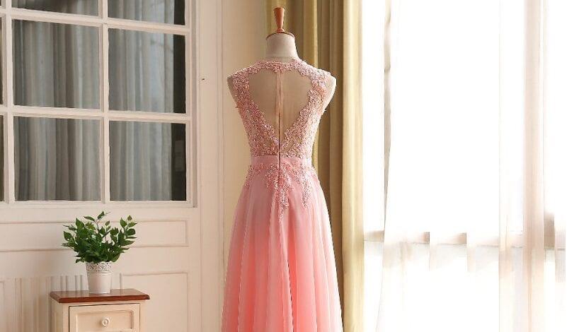 Pink Elegant A-line Long Open Back Vintage Evening Dress