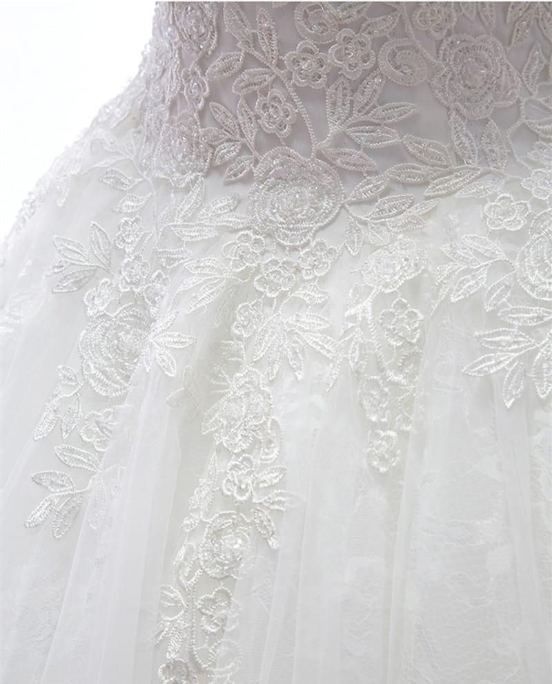 White Ivory Lace Up Princess Wedding Dress