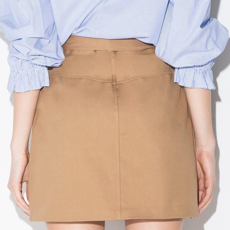 Tie Front High Waist Pockets Skirt