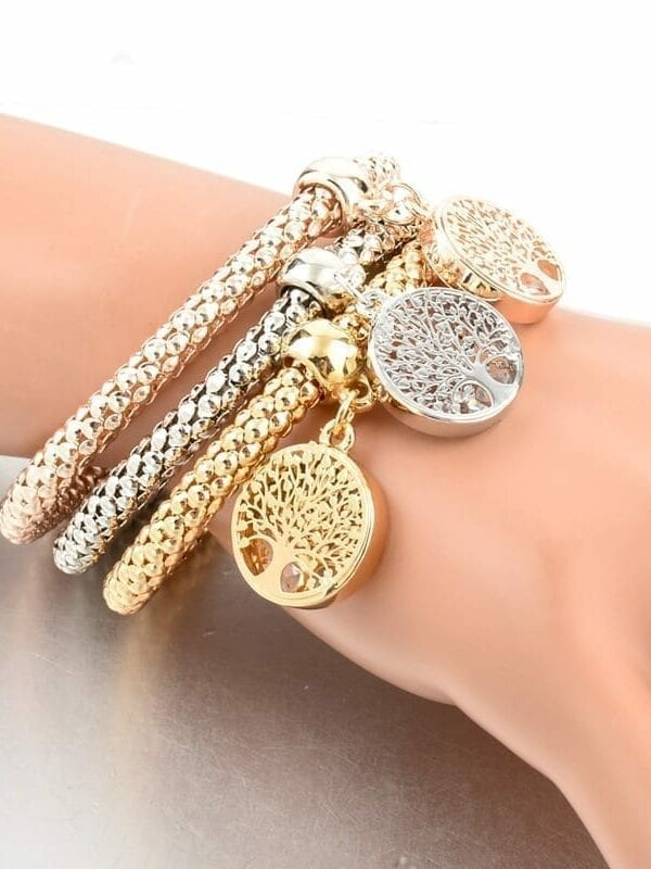 Rhinestones Gold Plated Tree Of Life Charm Bracelets