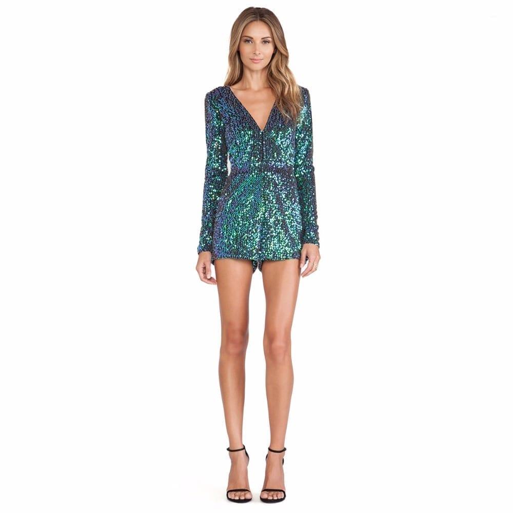 Sequins Glitter Back Zipper Party Jumpsuit