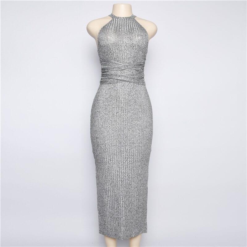 Halter Neck Gray Sleeveless Slit Mid-calf Bodycon Dress