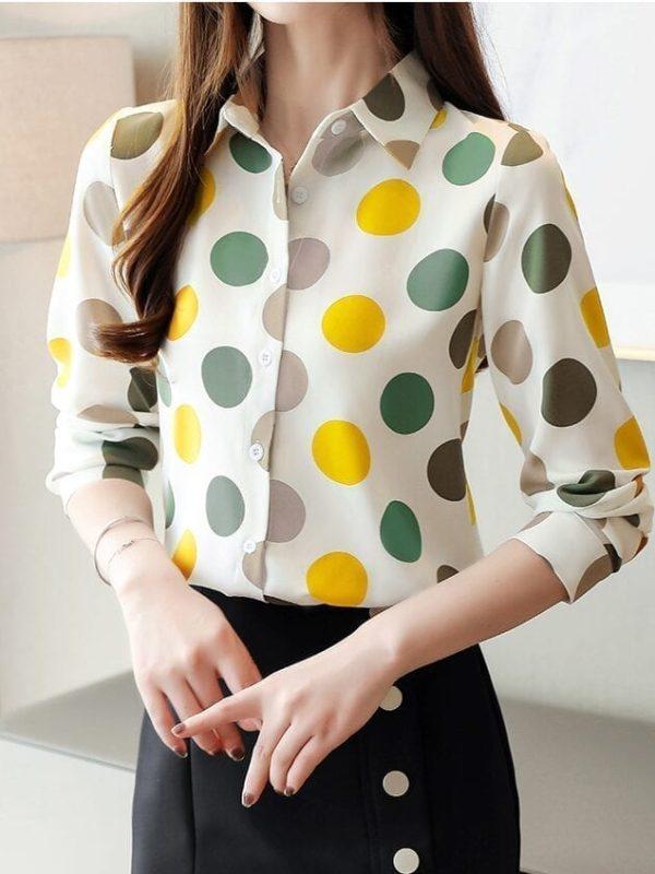 Chiffon Polka Dot Geometric Shirt