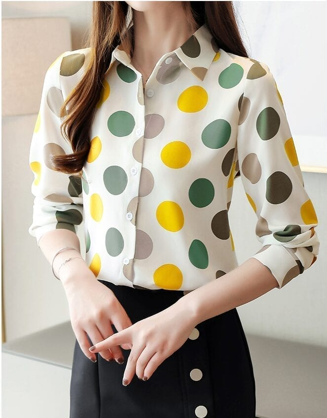 Chiffon Polka Dot Geometric Shirt
