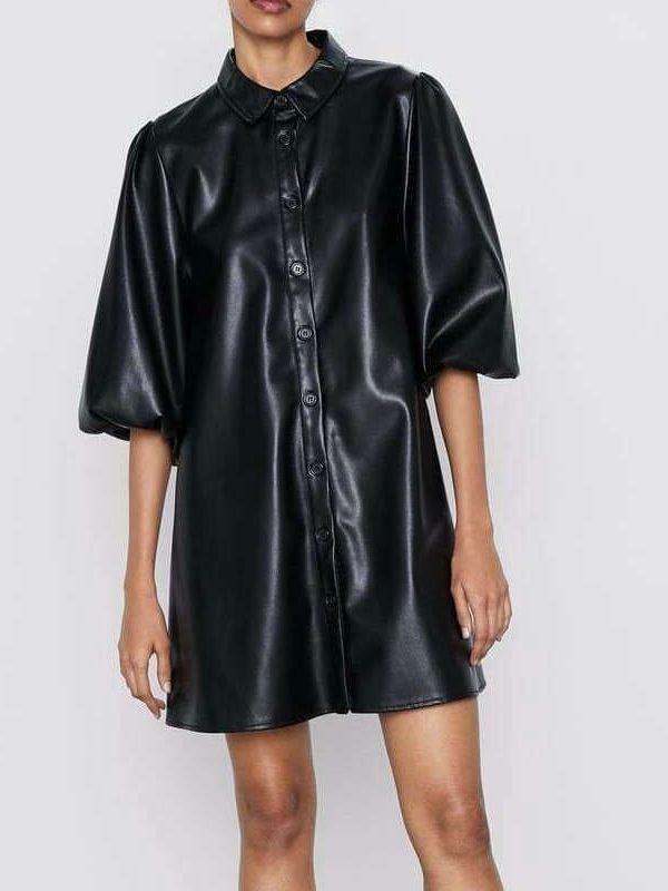 Black Pu Faux Leather Short Sleeve Turn-down Collar Dress