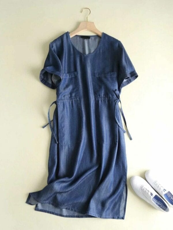 Vintage Blue V Neck Short Sleeve Drawstring Waist Denim Dress