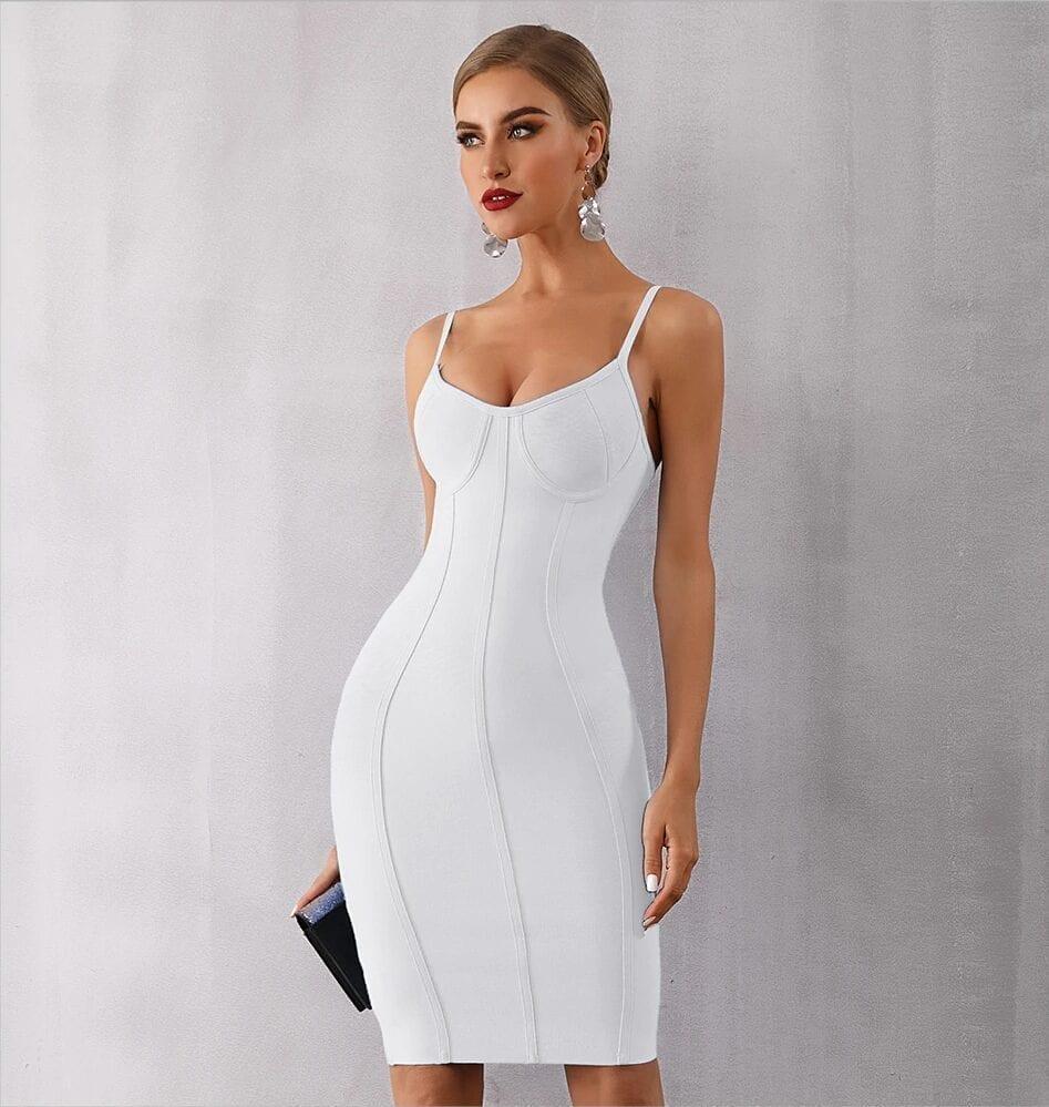 Blue Black White Strapless Bandage Bodycon Dress