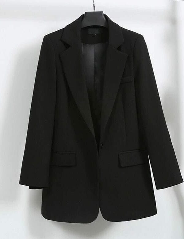 Elegant Black Single Button Women Blazer Jacket