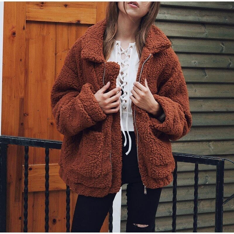 Elegant warm soft zipper fur coat jacket