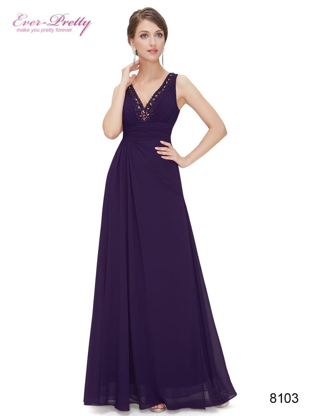 Double V-neck Rhinestone Long Elegant Chiffon Bridesmaid Dress