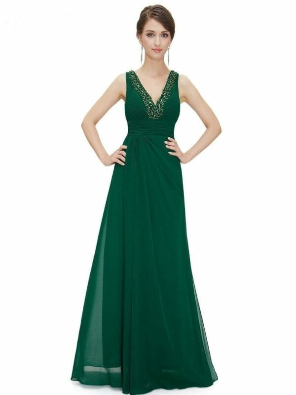 Double V-neck Rhinestone Long Elegant Chiffon Bridesmaid Dress
