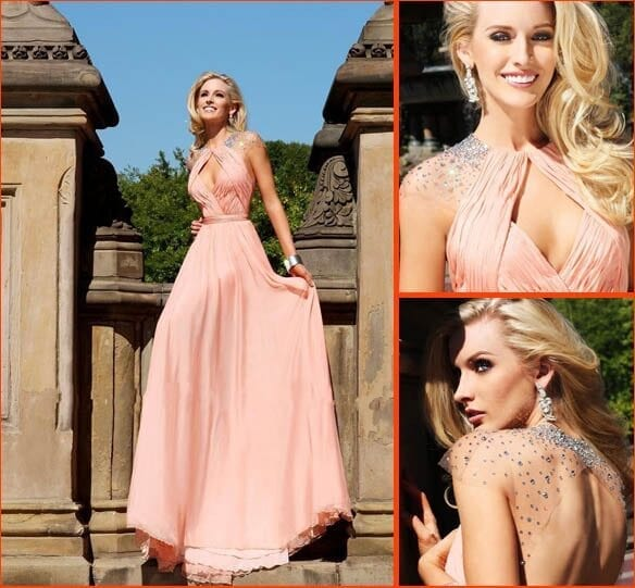 Elegnat Crystal Backless Pink Ruched Long Evening Prom Dress