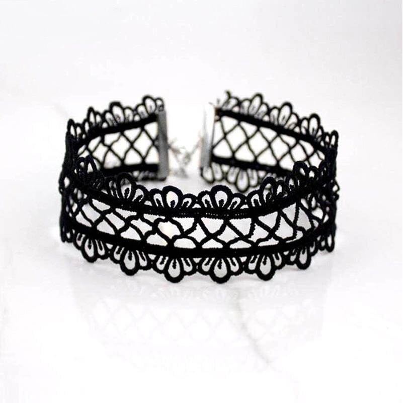 Hollow Out Lace Black Choker Punk Vintage Necklace With Chain Chic
