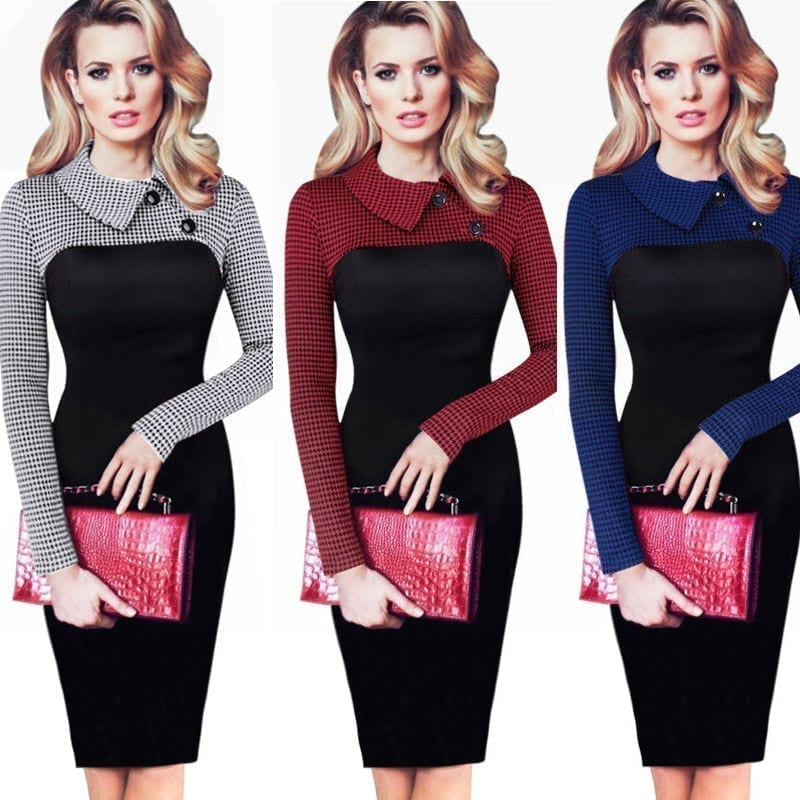 Vintage Long Sleeve Patchwork Office Plaid Pattern Bodycon Pencil Dress