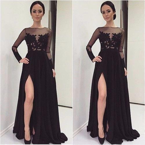 Black Long Sleeves High Slit Boat Neck Appliques Lace Chiffon Bridesmaid Dress